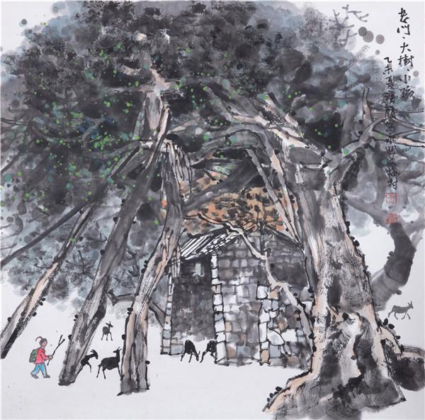 《老门.大树.小孩》68X68cm