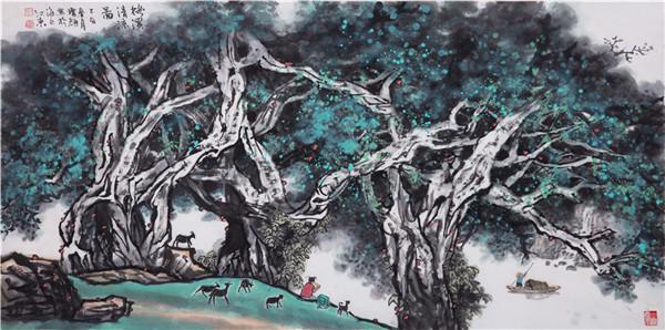 《榕溪清凉图》136X68cm